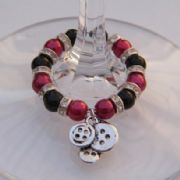 Buttons Wine Glass Charm - Full Sparkle Style